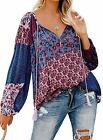 NUOREEL Women's Boho Tops Floral Print Casual Ruched Shirts V Neck Long Sleeves