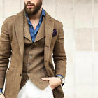 Business Men Suit Slim Fit Wedding Groom Notch Wedding Jacket Blazer Herringbone