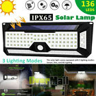 2xSolar Lights Outdoor Ultra Bright 136LED 1200Lumens 6000K Motion Sensor Lights