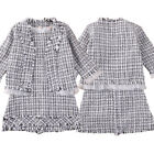 Kids Baby Girls Cute Outerwear Plaid Coat Short Plaid Dress Party Casual Clothes