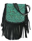 western fashion floral tooled leather fringe crossbody bag purse shoulder new