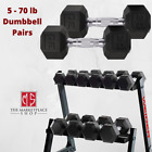 RUBBER HEX Dumbbells PAIR 5-70 lb Home Gym Dumbbell Fitness Workout Free Weights