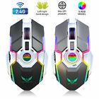 Wireless USB Optical Mice Gaming Mouse 7 Color LED Backlit Rechargeable For PC