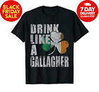 Drink Like A Gallagher St Patricks Day Irish T-Shirt Funny Vintage Gift For Men image