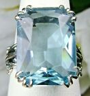 13ct Sim Blue Aquamarine Sterling Silver Love Leaf Filigree Ring Made To Order