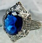 3ct Oval Sim Sapphire Sterling Silver Filigree Egyptian/Deco Ring Made To Order