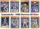 1989 Donruss All-Stars Baseball Set ** Pick Team ** See Checklist in Description on Ebay