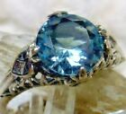 2ct Victorian Sim Aquamarine Sterling Silver Filigree Ring Size Made To Order