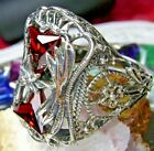 Red Garnet CZ Sterling Silver Victorian Floral Filigree Ring (Made To Order)