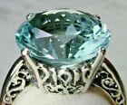 5ct Sim Blue Aquamarine Solid Sterling Silver Filigree Ring Made To Order