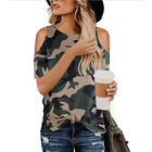 Womens Summer Cold Shoulder Leopard Camou T Shirt Tops Casual Loose Blouse US