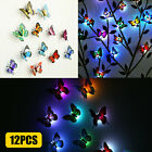12/24X 3D Colorful Butterfly Night Light Home Kids Room Wall Stickers Decor DIY