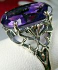 8ct Oval Cut Sim Amethyst Sterling Silver Vintage Filigree Ring Made To Order