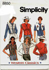 Simplicity 8850 Misses Western Classics Shirts Sewing Pattern Uncut
