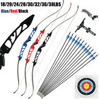 Archery Takedown Recurve Bow Set Hunting 68in 18-38lbs With 12 Fiberglass Arrows
