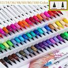 100 Colour Dual Tip Brush Pens with Fine liners Colouring Art Markers Drawing US