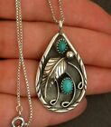 Vintage Women 925 Silver Turquoise Pendant Necklace Anniversary Party Jewelry