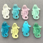 Aqua Green Pink Yellow 29x17mm Seahorse Beach Sea Glass Frosted Charms 4 per Pkg