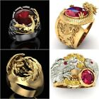 Punk 925 Silver Black Gold Gemstone Ruby Rings Dragon Ring Men Party Jewelry image