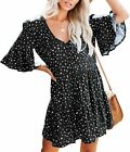 Bigyonger Womens Stretchy A Line Swing Ruffle Polka Dot V Neck Casual Loose Part