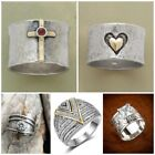 Antique 925 Silver Faithful Cross Ruby Ring Anniversary Jewelry Rings Size 6-10 image