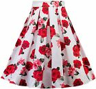 Womens Vintage Floral Print Pleated Flared A-Line Midi Skirts C64