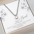 To My Friend Birthday Gift-Solitaire Sterling Necklace/Earring Set-Message