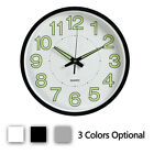 Wall Clock 12'' Luminous Modern Quartz Non-Ticking Glow In The Dark Silent Round
