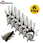 Golf Gloves Left Hand Right Mens 6 Pack Leather All Weather Grip Set UK Stock