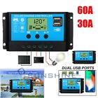 12V 24V Solar Charge Controller Kit PWM LCD Dual USB Output Charger Regulator