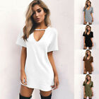 Kyпить Women Summer V Neck Short Sleeve Dress Solid Casual Beach Tunic A-line Sundress на еВаy.соm