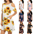 Summer Women Boho Loose Cold Shoulder Floral Casual Mini Dress Party Sundress US