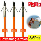 12pcs Bow Fishing Arrows Fish Safety Slides Hunting Broadheads Point Tips US