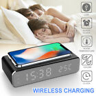 Electric LED Alarm Clock W/ Phone Wireless Charger Desktop Digital Thermometer ❤