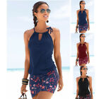 Kyпить New Women Summer Sleeveless Loose Beach Dress Splice Print Solid Casual Sundress на еВаy.соm