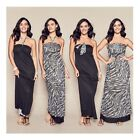 NEW AVON LADIES BLACK MAXI BLACK PRINT DRESS SIZE S,M,XL RRP $47.99 - REVERSIBLE