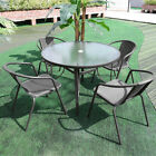 Garden Table & Chairs Set Round Metal Glass Dining Table Parasol Base 2/4pc Seat