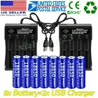 8pcs Skywolfeye 18650 Battery 3.7v Li-ion Rechargeable & Charger For Flashlight