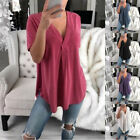 Kyпить Women Summer Short Sleeve T Shirt Casual V-Neck Solid Blouse Solid Loose Tops на еВаy.соm