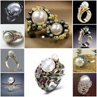 Fashion White Pearl Wedding Engagement Ring 925 Silver Women Party Jewelry Rings