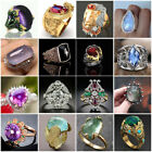 Fashion 925 Silver Jewelry Huge Sapphire Women Wedding Engagement Ring Size 5-12