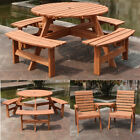 Garden Furniture Set Wooden Table 2/6/8 Seater Outdoor Patio Dining Set Uk New