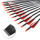 12x 26/28/30 Carbon Arrows for Compound Recurve Bow Target Hunting Shooting US