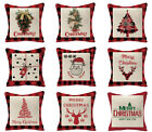 Christmas throw pillow covers, Santa Claus/antlers/Christmas tree/red pillowcase
