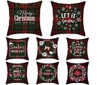 Christmas red plaid throw pillow covers 18x18in, New year decorative pillowcase