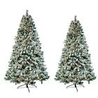6FT 7FT Snow Flocked Christmas Tree Holiday w/Metal Stand Light Outdoor Indoor