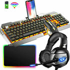 Wireless Gaming Keyboard Mouse + Headset + RGB Pad LED Backlit Rechargeable Set