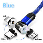 2A New 540° Rotation Magnetic Charger Cable For Android Type-C iOS Micro-USB Lot