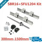 16mm SBR16 Linear Rail Set & RM/SFU1204 Ballscrew kit 300-1500mm For CNC DIY US
