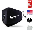 Black Face Mask W. PM2.5 Filter (Washable Durable Reusable) Nike Drip Face Cover